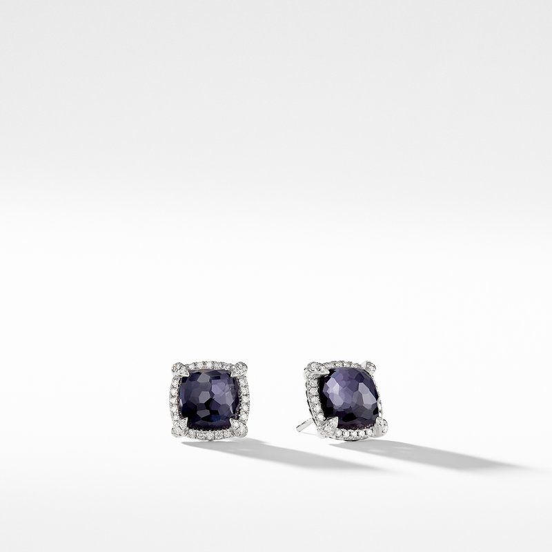 David Yurman Chatelaine® Pavé Bezel Earring with Black Orchid and Diamonds mm