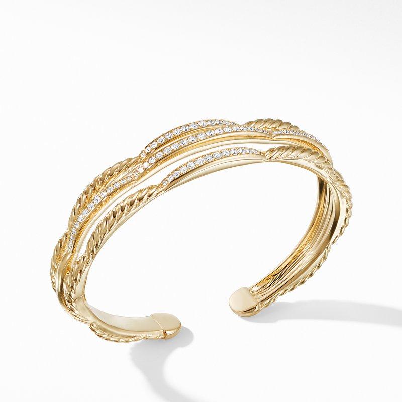 David Yurman Tides Three Row Cuff Bracelet in 18K Yellow Gold with Diamonds