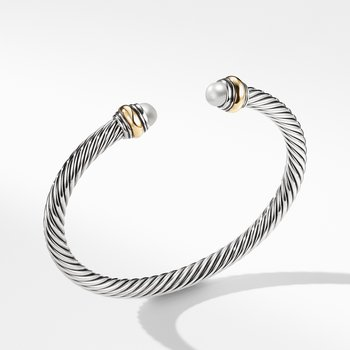Cable Classic Bracelet with Pearl and 14K Gold