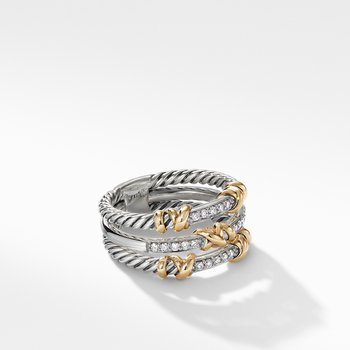 Petite Helena Three Row Ring with 18K Yellow Gold and Diamonds