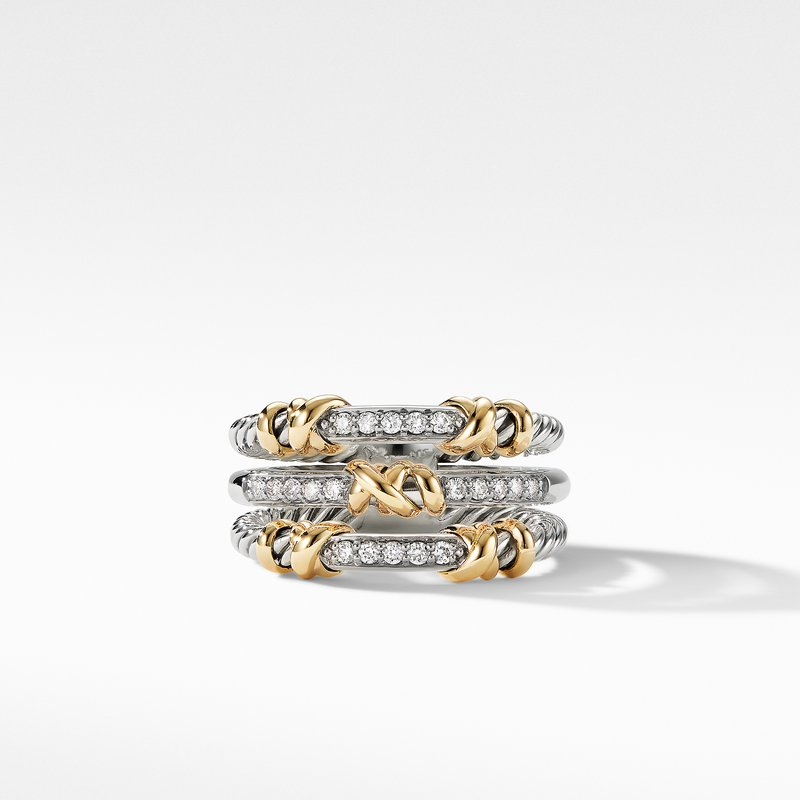David Yurman Petite Helena Three Row Ring with 18K Yellow Gold and Diamonds