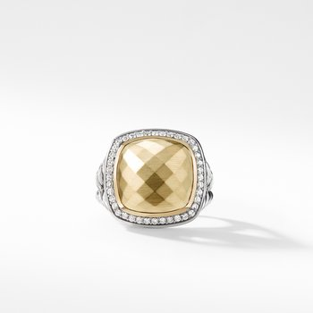 Ring with 18K Gold Dome and Diamonds