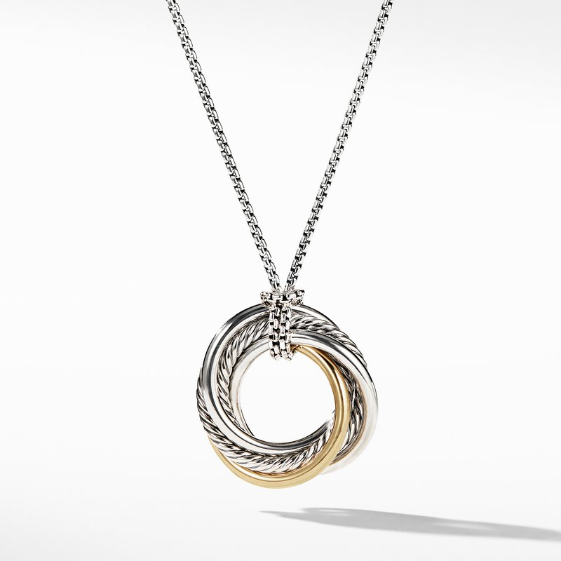 David Yurman Crossover Small Pendant Necklace with Gold