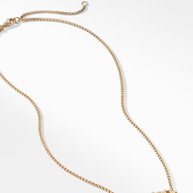 David Yurman The Crossover Collection® Single Station Necklace with Diamonds in 18K Gold
