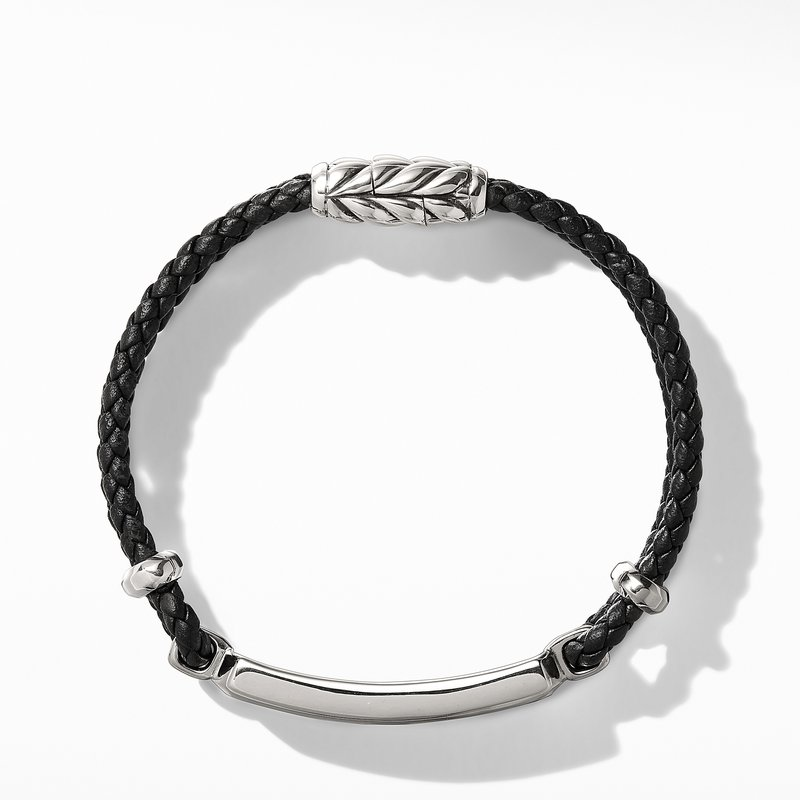 David Yurman Exotic Stone Bar Station Bracelet in Black Leather with Meteorite