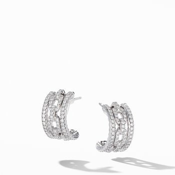 Stax Chain Link and Pavé Huggie Hoops in 18K White Gold