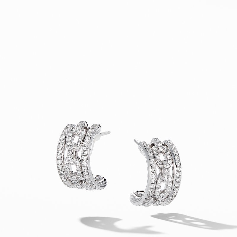 David Yurman Stax Chain Link and Pavé Huggie Hoops in 18K White Gold