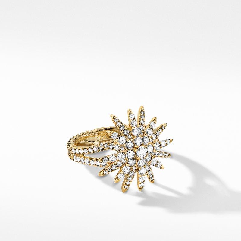 David Yurman Starburst Ring in 18K Yellow Gold with Full Pavé Diamonds
