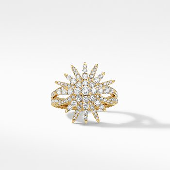 Starburst Ring in 18K Yellow Gold with Full Pavé Diamonds