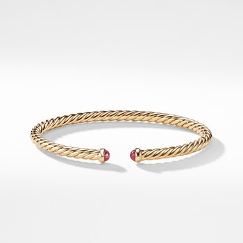 Petite Precious Cable Bracelet with Rubies in Gold