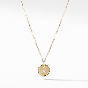 """""""K"""" Pendant with Diamonds in Gold on Chain"""