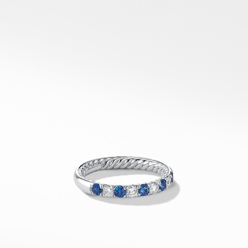 David Yurman DY Eden Eternity Wedding Band in Platinum with Blue Sapphires and Diamonds