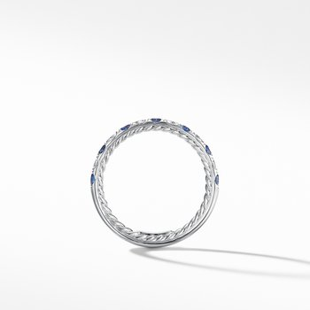 DY Eden Eternity Wedding Band in Platinum with Blue Sapphires and Diamonds