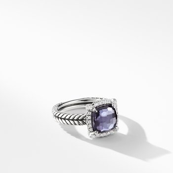 Chatelaine® Pave Bezel Ring with Black Orchid and Diamonds mm