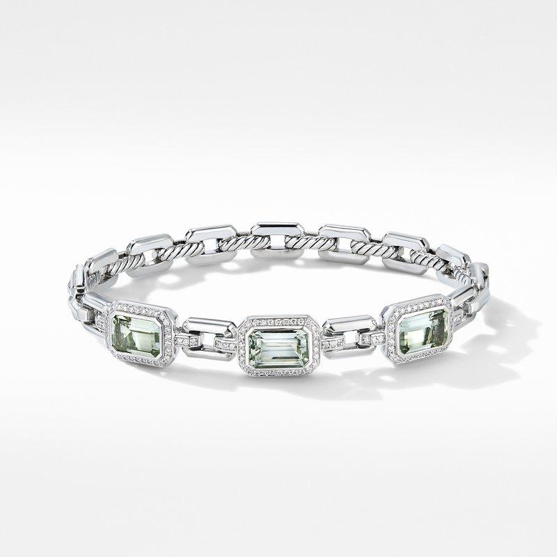 David Yurman Novella Three Stone Bracelet with Prasiolite and Pavé Diamonds