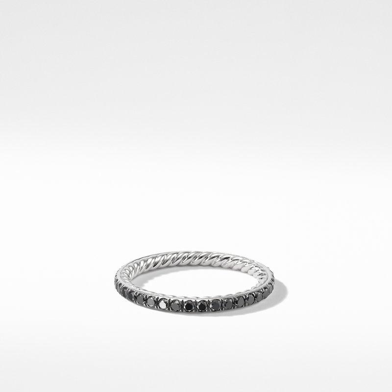 David Yurman DY Eden Band Ring in Platinum with Black Diamonds
