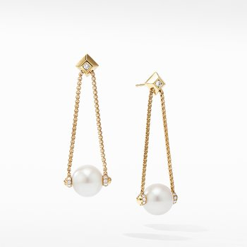 Solari Pearl Drop Earring with Diamonds in 18K Yellow Gold