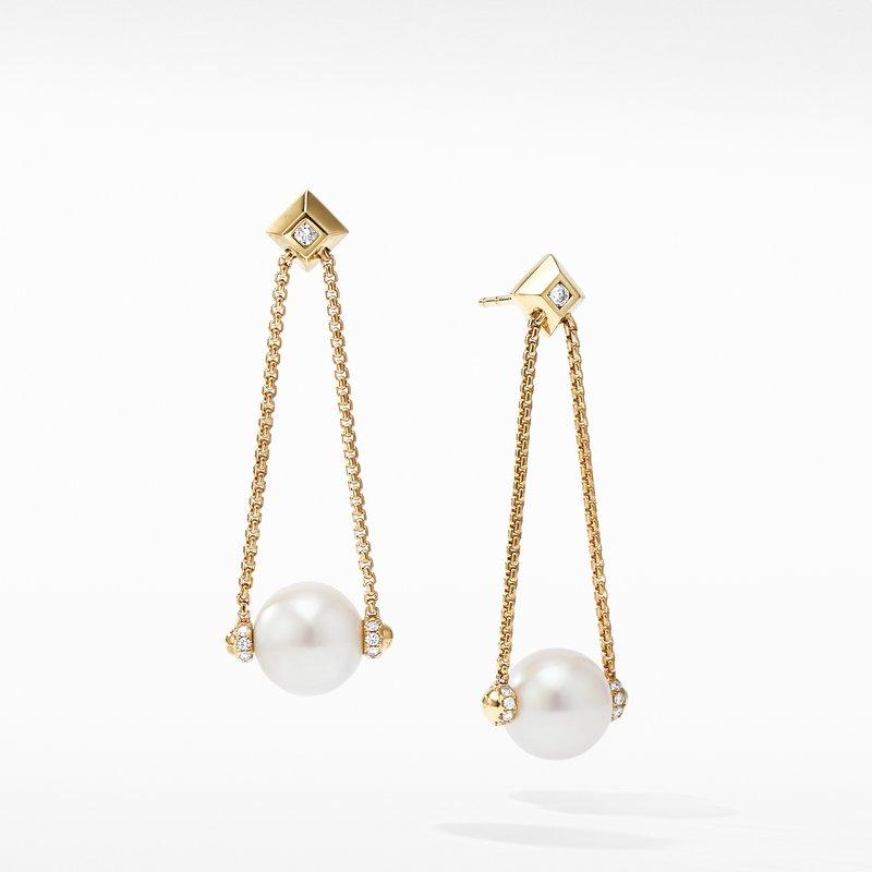 David Yurman Solari Pearl Drop Earring with Diamonds in 18K Yellow Gold