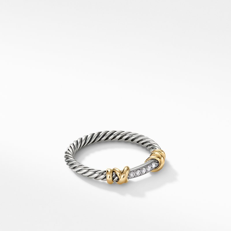 David Yurman Petite Helena Wrap Ring with 18K Yellow Gold and Diamonds