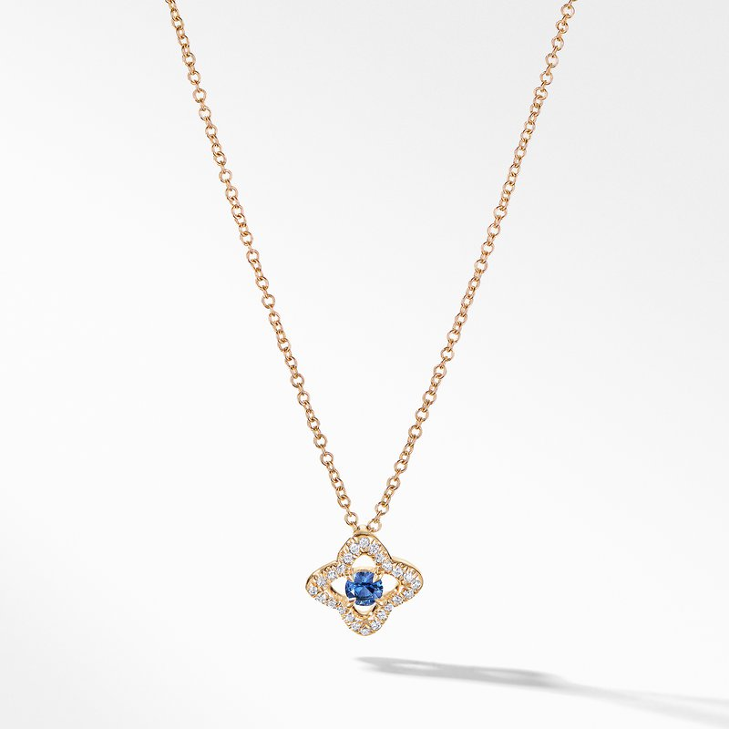 David Yurman Necklace with Blue Sapphire and Diamonds in 18K Gold