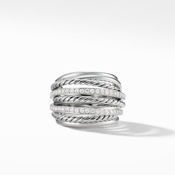 Crossover Dome Ring with Diamonds