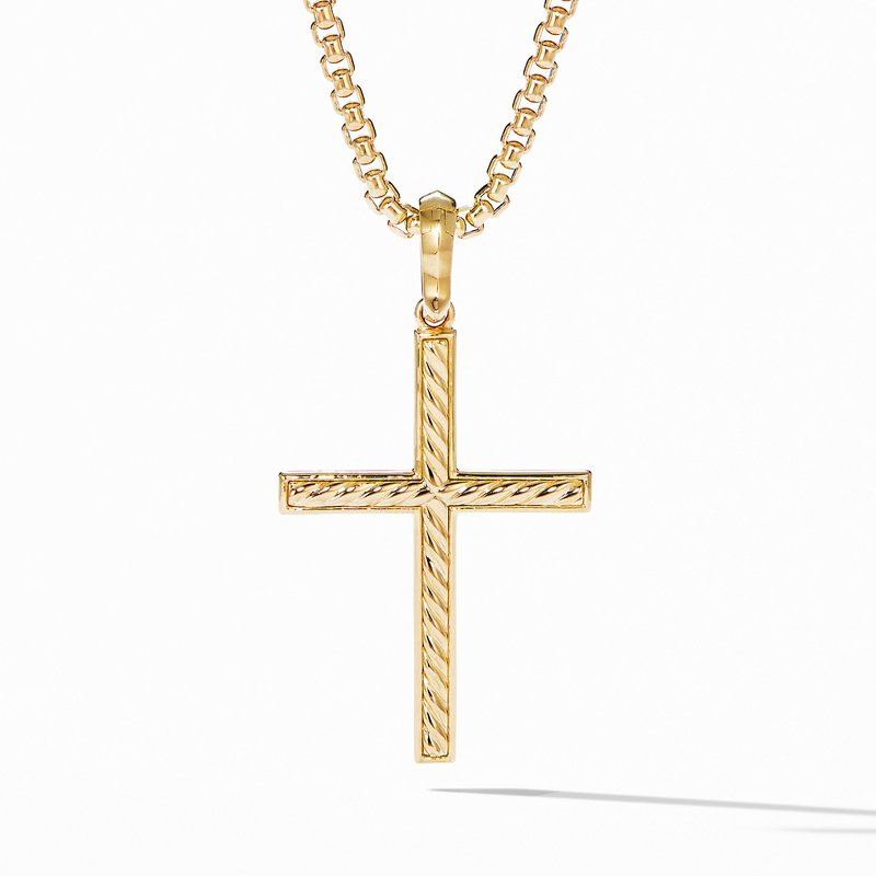 David Yurman Modern Renaissance Cross Pendant in 18K Yellow Gold with Diamonds