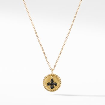 Cable Collectibles Fleur de Lis Necklace with Black Diamonds in 18K Gold