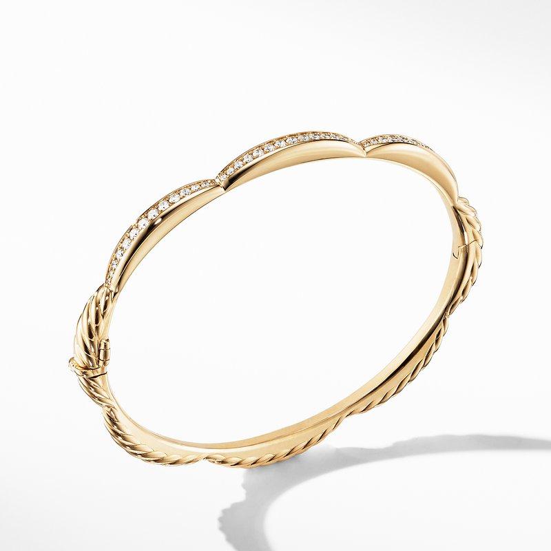 David Yurman Tides Three Station Bracelet in 18K Yellow Gold with Diamonds