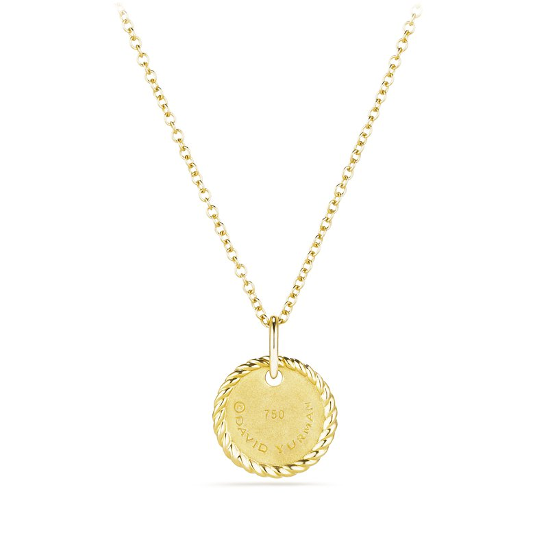 "David Yurman ""G"" Pendant with Diamonds in Gold on Chain"