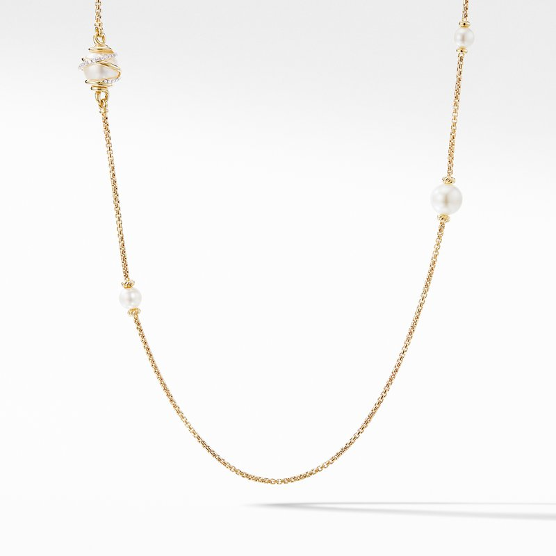 David Yurman Helena Pearl Station Necklace in 18K Yellow Gold with Diamonds