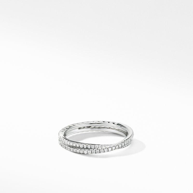 David Yurman Micro Pavé DY Crossover® Band Ring in Platinum