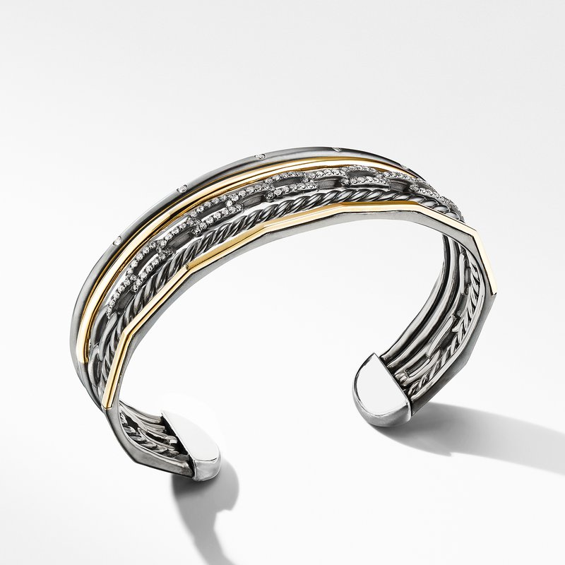David Yurman Stax Five-Row Cuff Bracelet in Blackened Silver with Diamonds