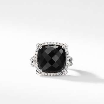 Chatelaine® Pave Bezel Ring with Black Onyx and Diamonds 1
