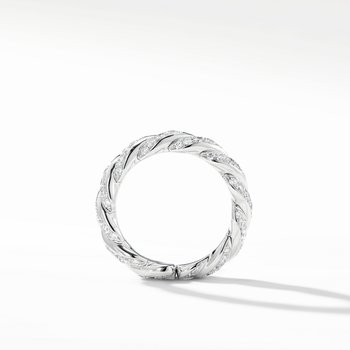 Paveflex Band Ring with Diamonds in 18K White Gold, 5mm