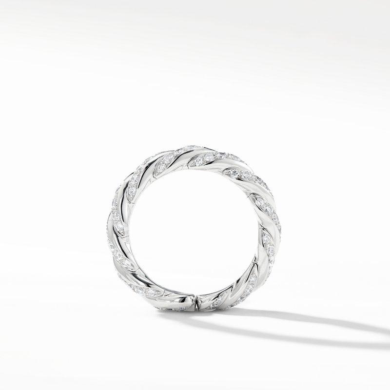 David Yurman Paveflex Band Ring with Diamonds in 18K White Gold, 5mm