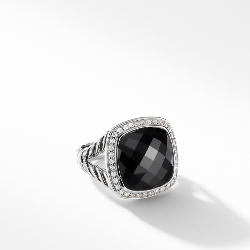 David Yurman Ring with Black Onyx and Diamonds