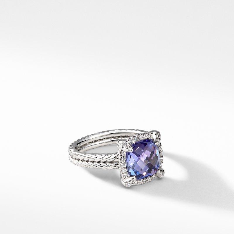 David Yurman Chatelaine Pave Bezel Ring with Tanzanite and Diamonds in 18K White Gold, 9mm