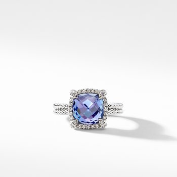 Chatelaine Pave Bezel Ring with Tanzanite and Diamonds in 18K White Gold, 9mm