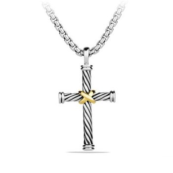 Cable Cross with 18K Gold