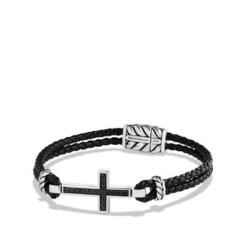 Cross Bracelet with Black Onyx