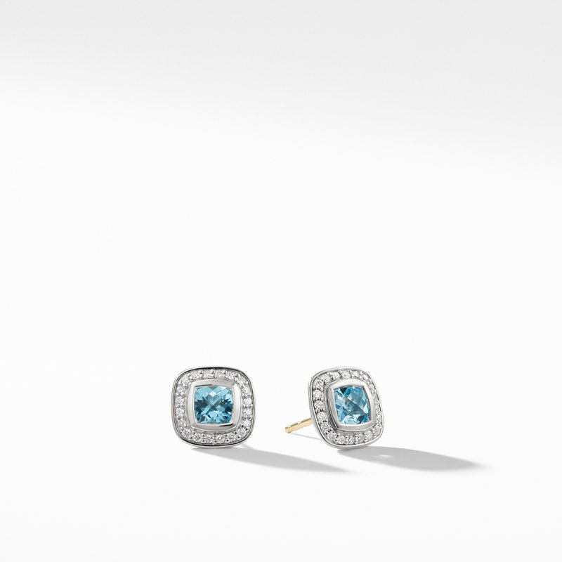 David Yurman Petite Albion Earrings with Blue Topaz and Diamonds