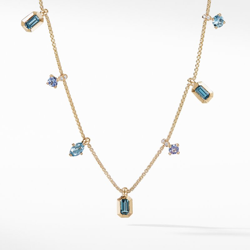 David Yurman Novella Necklace in Hampton Blue Topaz and Aquamarine with Diamonds