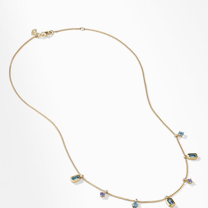 David Yurman Novella Necklace in Hampton Blue Topaz and Aquamarine with Diamonds