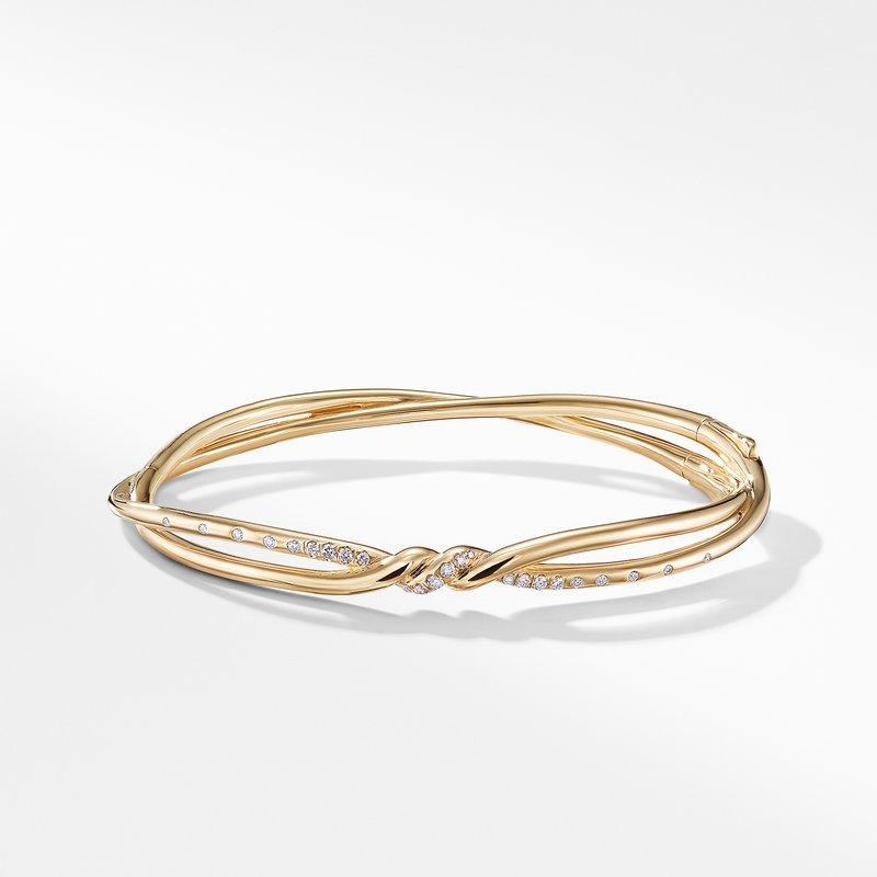 David Yurman Continuance Center Twist Bracelet with Diamonds in18K Gold