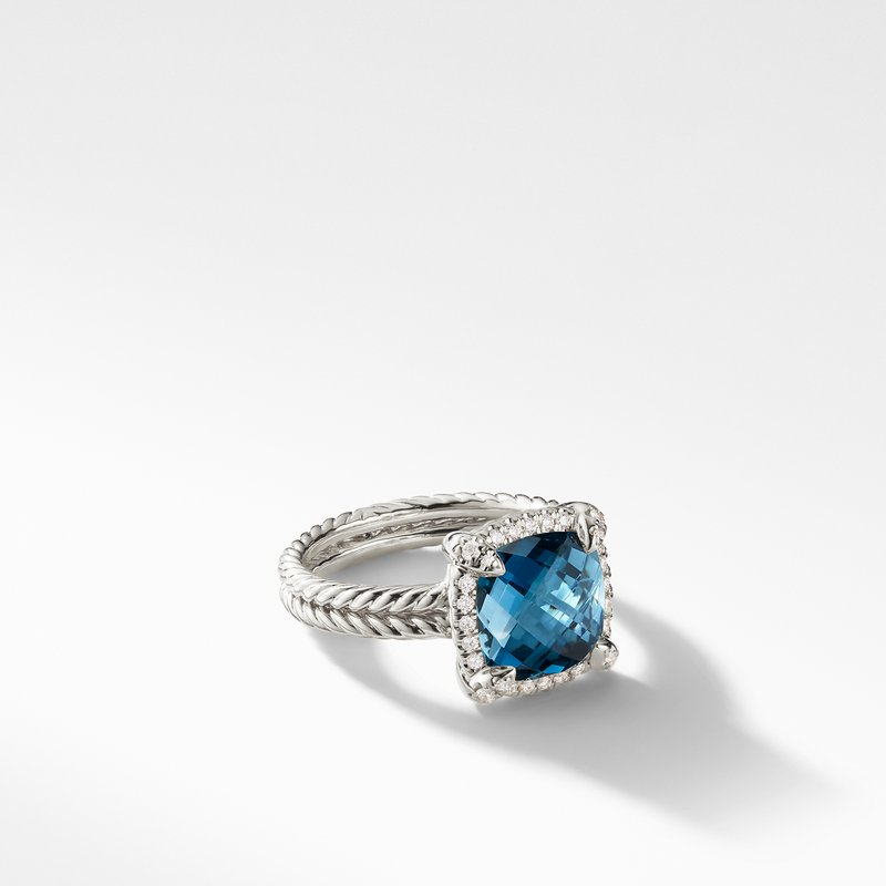 David Yurman Chatelaine® Pave Bezel Ring with Hampton Blue Topaz and Diamonds mm