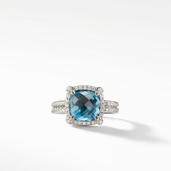 Chatelaine® Pave Bezel Ring with Hampton Blue Topaz and Diamonds mm