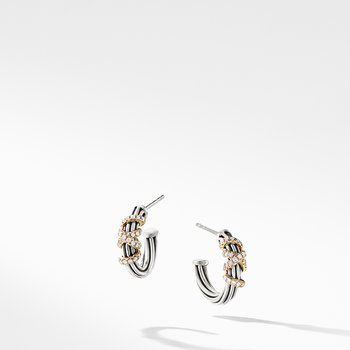 Helena Small Hoop Earrings with Diamonds and 18K Gold