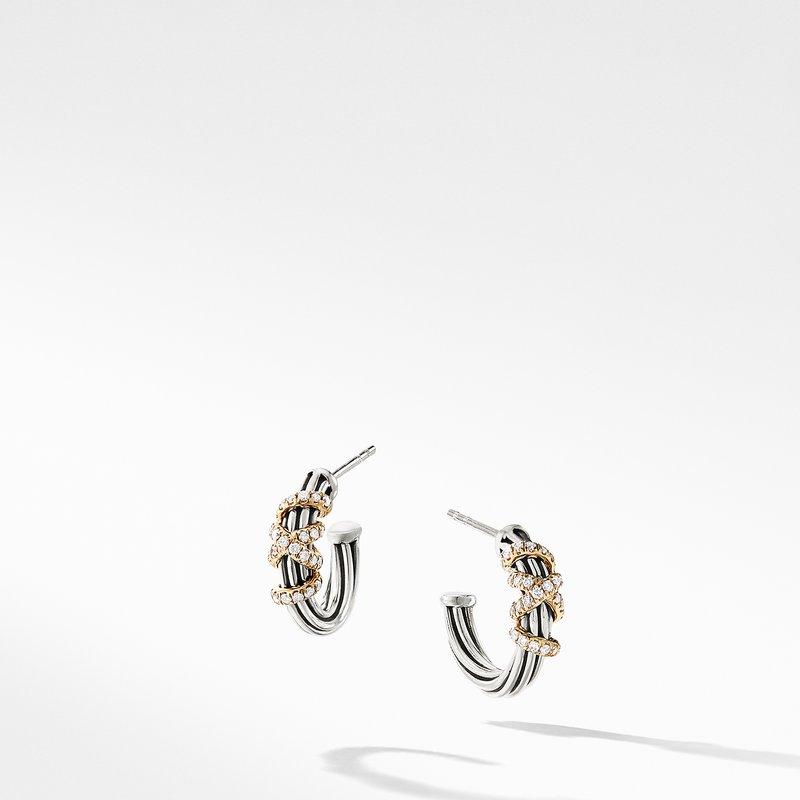 David Yurman Helena Small Hoop Earrings with Diamonds and 18K Gold