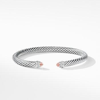 Cable Classics Bracelet with Morganite and Diamonds,