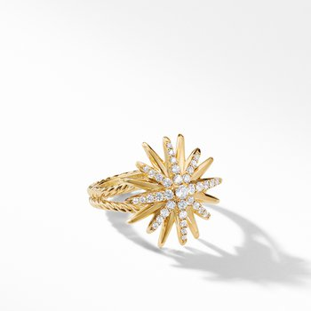 Starburst Ring in 18K Yellow Gold with Pavé Diamonds